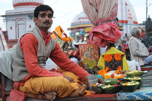 Indian selling flowers hindu