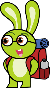 Vincent The Veganary rabbit with backpack